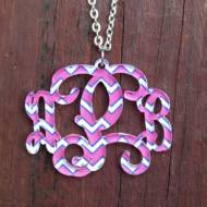 Monogram Custom Cut Vine Font Necklace With Chevron Pattern