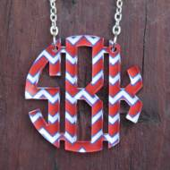 Monogram Floating Circle Chevron Necklace In 3 Sizes