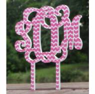 Monogram Vine Font Chevron Wedding Cake Topper