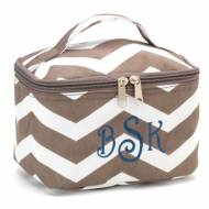 Monogrammed Mini Taupe Chevron Cosmetic Bag