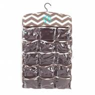 Monogrammed Taupe Chevron Hanging Accessory Organizer