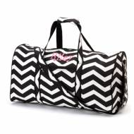 Monogrammed Large Lined Black Chevron Duffle Bag