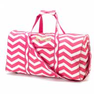 Monogrammed Large Lined Pink Chevron Duffle Bag