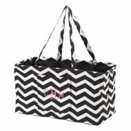 Monogrammed Black Chevron Ultimate Carry All Tote