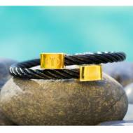 Monogrammed Black Cable Twist Cuff Bracelet