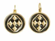 18K Gold And Black Enamel Linked Medallion Small Coin Earrings