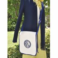 Queen Bea Monogrammed Large Cross Body Canvas Bag