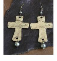 Brass Cross Earrings With Your Choice Of Precious Stone Dangle