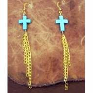 Turquoise Cross Earrings With Dangle Brass Chains