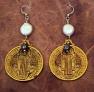 Brass Coin Earrings With White Pearl And Pyrite Bead