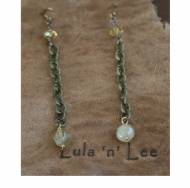 Brass Chain And Gemstone Earrings