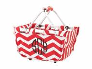 Monogrammed Red Chevron Market Tote Mini