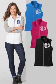 Ladies Monogrammed Microfleece Vest In All Colors