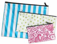 Monogrammed Oilcloth Zipper Pouches In Three Sizes
