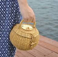 Queen Bea Coastal Sand Dollar Lil Round Florida Basket