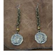 Silver Medallion And Brass Earrings