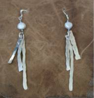 Handmade Pearl And Silver Dangle Earrings