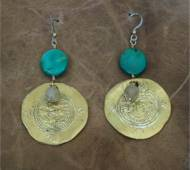 Turquoise And Brass Coin Earrings
