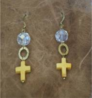Brass Earrings With Mini Bone Cross And Crystal Bead
