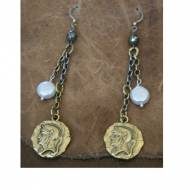 Dangling Pearl And Brass Medallion Earrings