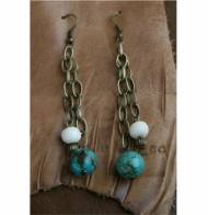Turquoise And Brass Dangle Earrings