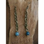 Blue Jade And Brass Earrings