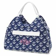 Monogrammed Navy Anchor Beach Bag