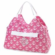 Monogrammed Pink Anchor Beach Bag