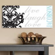 Personalized Live, Laugh, Love Filigree Canvas