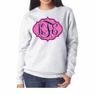 Monogrammed White Crew Neck Sweatshirt With Large Or Small Monogram