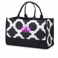 Monogrammed Black And White Geometric Open Tote