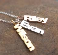 Vertical Names Necklace In Silver, Rose Gold Or Yellow Gold