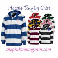 Monogrammed Rugby Hoodie Pullover In Many Colors
