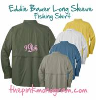 Monogrammed Eddie Bauer Long Sleeve Fishing Shirt For Guys And Girls