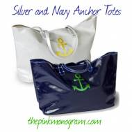 Monogrammed Canvas Anchor Tote In 4 Colors