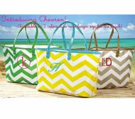 Monogrammed Chevron Totes In Yellow, Grey Or Green