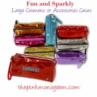Large Monogrammed Sparkly Vinyl Cosmetic Or Accessories Cases