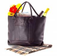 Large Monogrammed Leather Nantucket Tote In Black, Cafe Or Tan