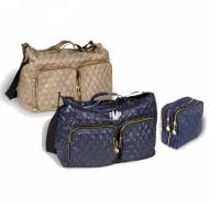 Monogrammed Quilted Gold Or Navy Crossbody Bag With Pouchette