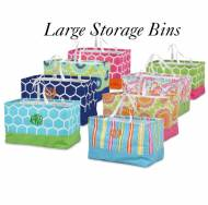 Large Monogrammed Canvas Storage Bin With Handles