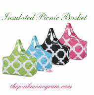 Monogrammed Picnic Basket In 4 Colors