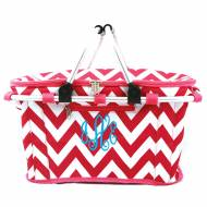 Monogrammed Insulated Picnic Cooler In Preppy Pink Chevron