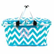 Monogrammed Insulated Picnic Cooler In Cool Aqua Chevron