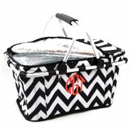 Monogrammed Insulated Picnic Cooler In Basic Black Chevron