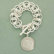 Double Link Charm Bracelet With Larger Monogrammed Disc In Sterling ...