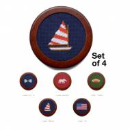Bowtie, Elephant, Flag, Football Or Sailboat Needlepoint Coasters  ...