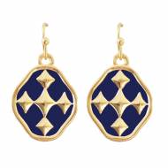 Navy And Gold Shield Of Faith Colors Dangle Earrings