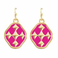 Pink And Gold Shield Of Faith Colors Dangle Earrings