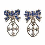Blue Shining Shields Of Faith Bow Earrings