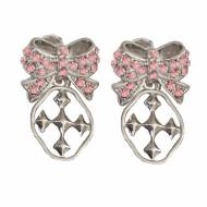 Pink Shining Shields Of Faith Bow Earrings